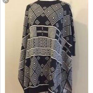 H&M dark gray and cream oversized poncho.